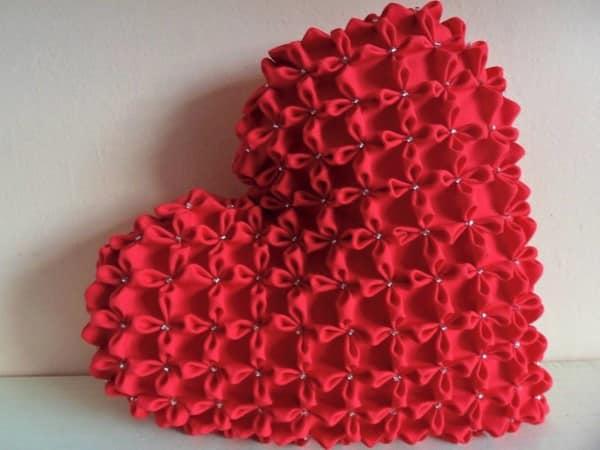 almofada coração capitone