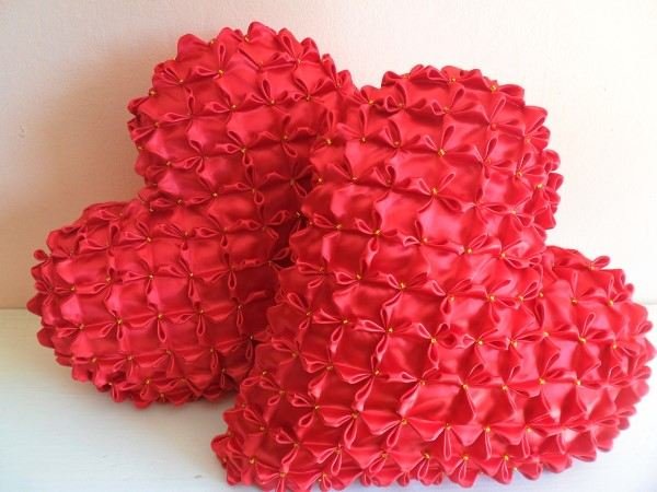 almofadas duplas capitone coração