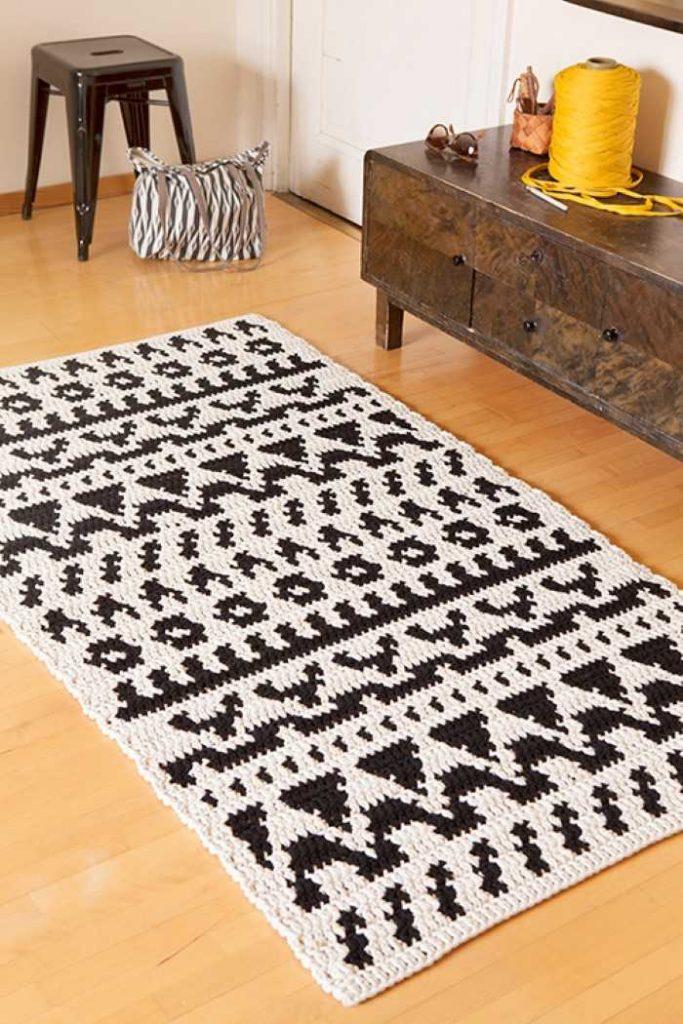tapetes de crochê para sala