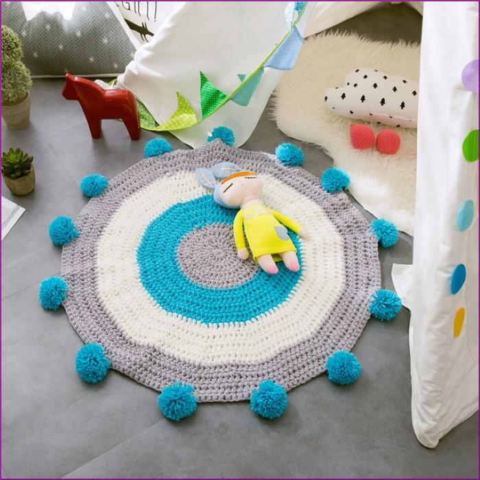 tapetes de crochê azul