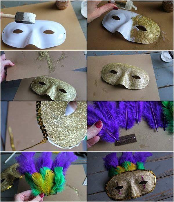 máscara branca com com gllitter