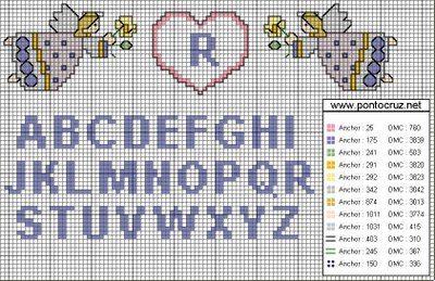 Tutorial e gráficos de confecção de letras em ponto cruz