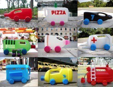 carrinhos reciclados Como fazer brinquedos reciclados passo a passo