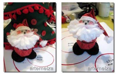 Como Fazer Papai Noel Fuxico 13 Papai Noel de fuxico passo a passo