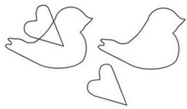 Molde de passarinhos em papel