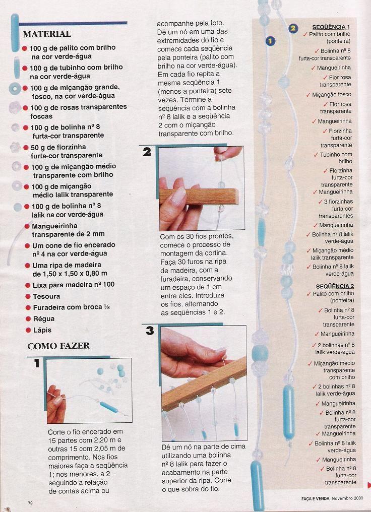 Cortinas Para Quarto Passo A Passo ~ Cortina de mi?anga passo a passo  Artesanato passo a passo!