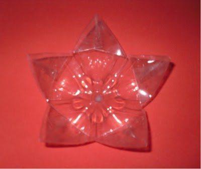 Estrela de Natal Passo 5 Como fazer estrela de Natal com garrafa pet