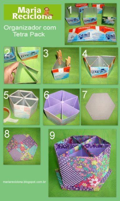 caixa 11 Como fazer porta lápis de caixa de leite passo a passo