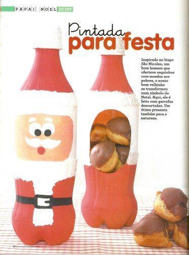 Armario Bebe Pequeño ~ Papai Noel de garrafa pet Como fazer passo a passo Artesanato Passo a Passo!