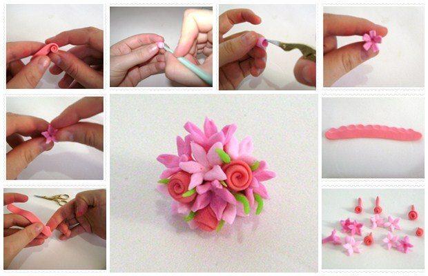 Como fazer buquê de flor de biscuit (Foto: Divulgação).