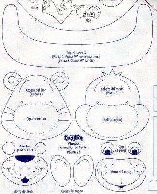 Como criar viseia Molde de viseira de EVA de animais
