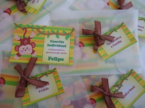 convite infantil papel de seda
