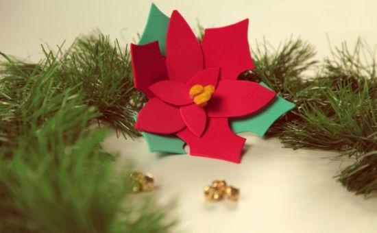 Flores de Natal em EVA Passo a Passo Artesanato Passo a Passo! -> Decoração Em Eva Natal