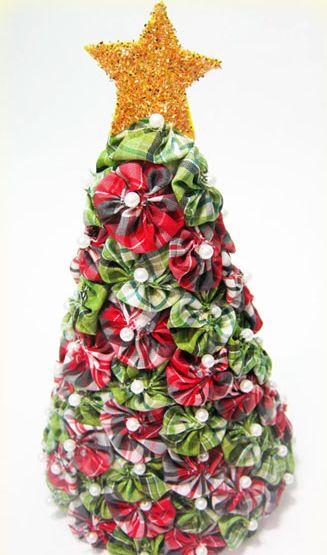 decoracao arvore de natal passo a passo:Passo a Passo Árvore de Natal de Fuxico – Artesanato passo a passo!