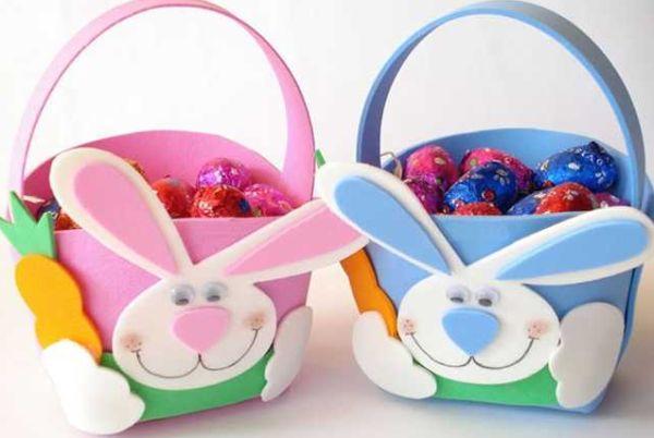 Faça esta linda cestinha de Páscoa de EVA e receba muitos elogios, de crianças e adultos (Foto: Divulgação)