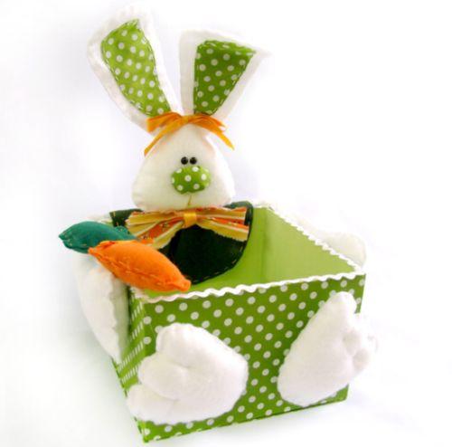 Este porta-guloseimas de coelho pode também servir de presente ou ser uma renda extra na época da Páscoa (Foto: Divulgação)