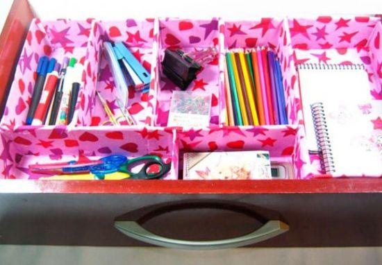 Este lindo organizador de gavetas com caixa de leite deixará o seu dia a dia muito mais prático (Foto: Divulgação)