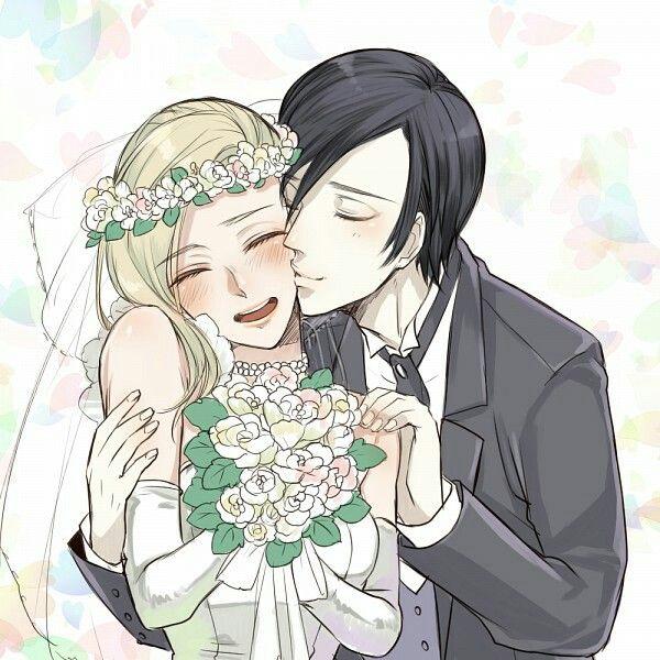 Desenho de noivos