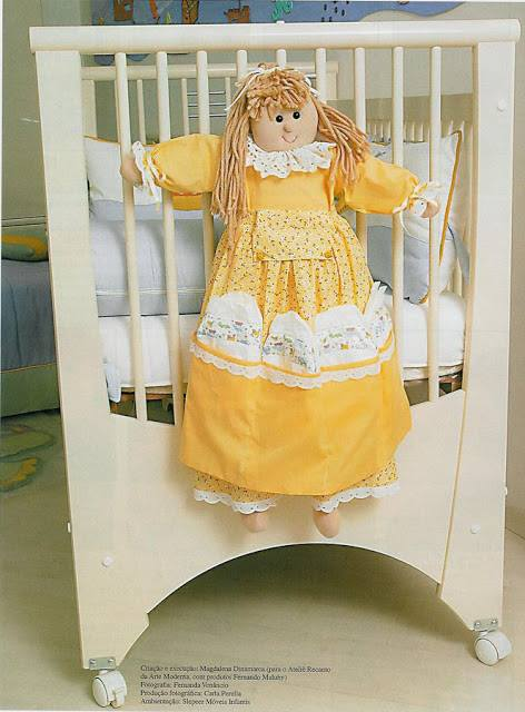 boneca de pano porta fraldas