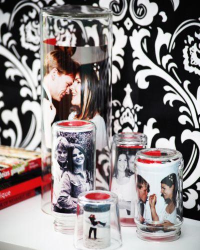 Este arranjo para fotos com copos é sofisticado e deixará o décor de seu lar muito mais interessante (Foto: casa.abril.com.br)