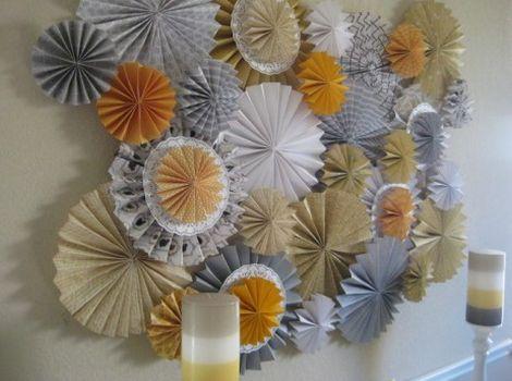 Faça estes círculos de leque e deixe o décor de sua festa com visual muito mais interessante (Foto: ehojevaiserumafesta.com)