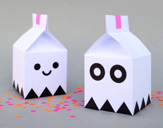 Festas com caixa milk fantasma além de criativa tem também orçamento pequeno (Foto: minieco.co.uk)