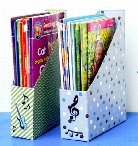 Você pode utilizar este organizador com caixa de cereal tanto em suas estantes quanto dentro do armário (Foto: latinas4latinolit.org)