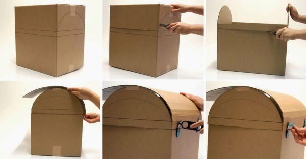 Ba de caixa de papel o passo a passo - Como hacer un baul para guardar juguetes ...