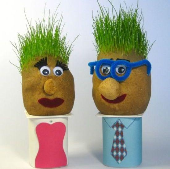 Com este boneco cabeça de grama a brincadeira e a diversão são garantidas (Foto: homemade-gifts-made-easy.com)