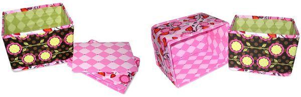 Caixa de tecido e papelão organiza e decora (Foto: sew4home.com)