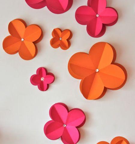 Como Fazer Flores de Papel 3D para Colar na Parede | Artesanato ...