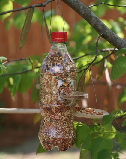 Comedouro com garrafa pet é ótima opção para ter a natureza mais próxima de sua casa (Foto: herecomesthesunblog.net)