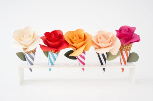 Estas lindas flores de papel no cone podem ir até para festas (Foto: ohhappyday.com)