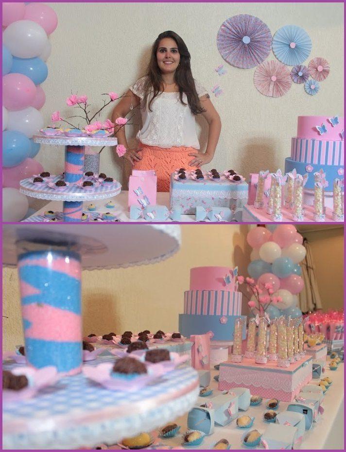 Festinha para meninas em azul e rosa no tema Borboleta