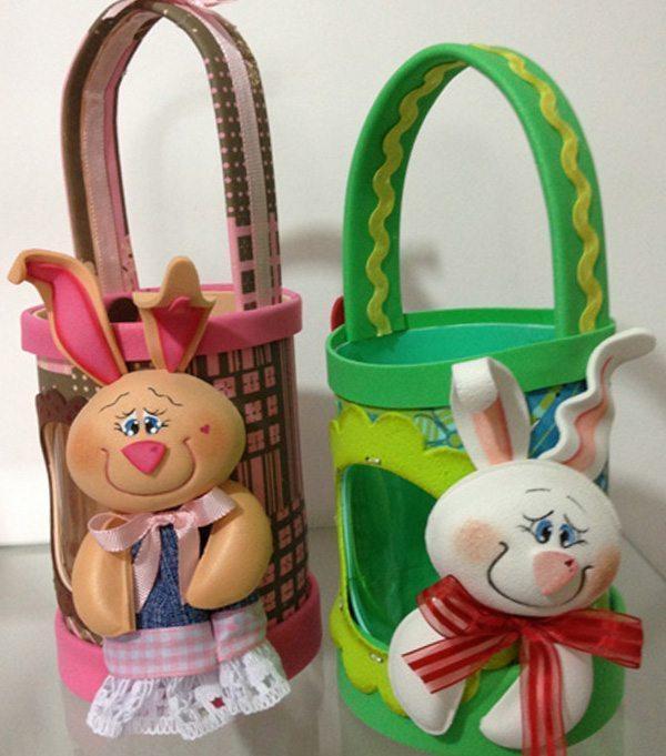 Esta simpática cesta de Páscoa com garrafa pet decorada faz sempre muito sucesso por onde aparece (Foto: hak.com.br)