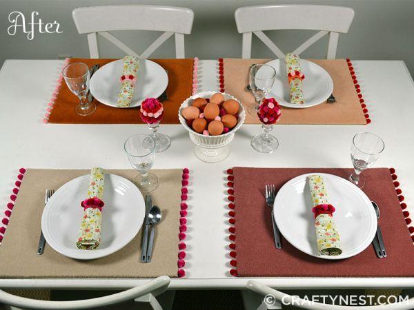 Invista em decoração de mesa com pompom e renove o visual de suas refeições (Foto: craftynest.com)