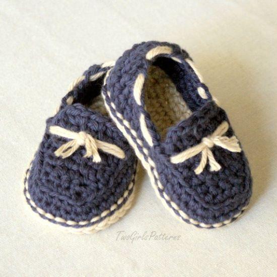 Crochet Pattern For Baby Boat Shoes : 12 Modelos de Sapatinhos de Beb? para Fazer em Casa