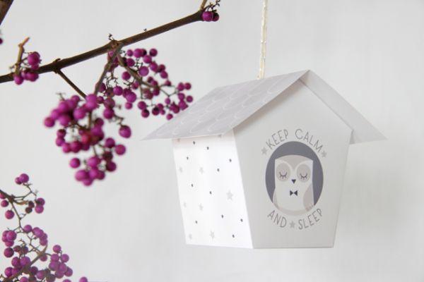 Casinha de passarinho feita com papel é delicada e pode ficar em outros cômodos além do quarto das crianças (Foto: zugalerie.blogspot.fr)