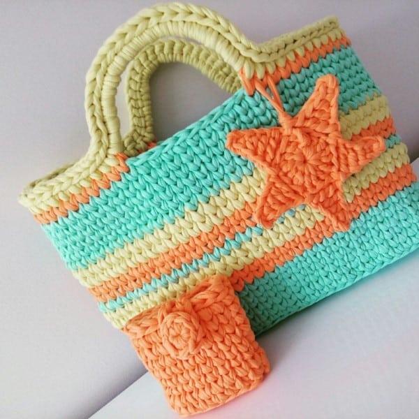 bolsa de praia em croche
