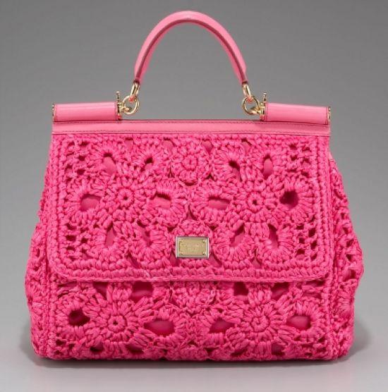 bolsa rosa de croche