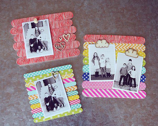 Ideias para fazer porta retrato de palito de picol for Decorate your own picture frame craft