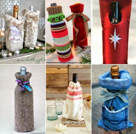 Há várias ideias para fazer embalagens para garrafas de vinho (Foto: allcheapcrafts.com)