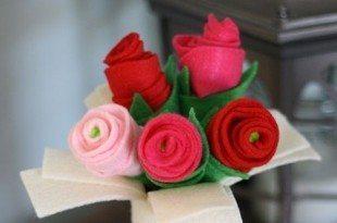 Decoração com Rosas de Feltro Passo a Passo