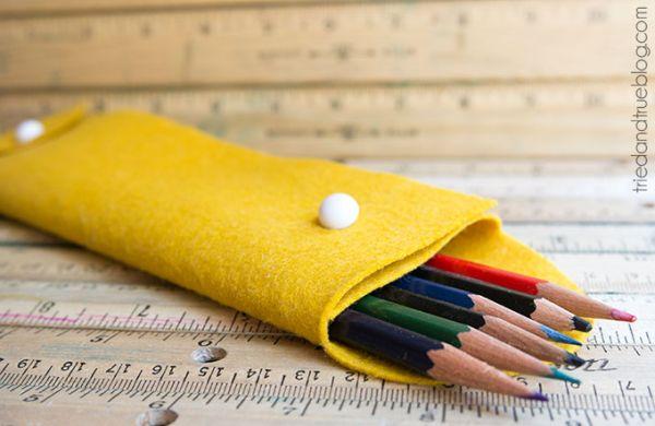Este estojo escolar em feltro é diferente, lindo e muito útil (Foto: diycandy.com)