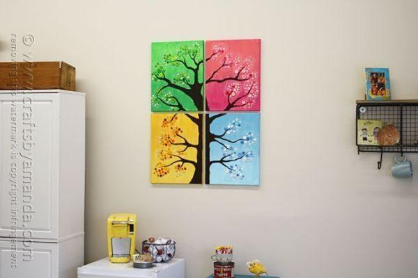 Quadro de árvore com botões pode ter o estilo e cores que você quiser (Foto: craftsbyamanda.com)