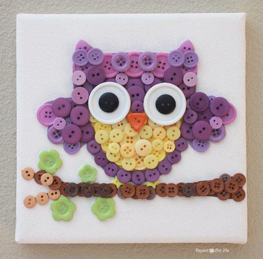Quadro de coruja feito com botões pode ter o estilo e as cores que você quiser (Foto: repeatcrafterme.com)