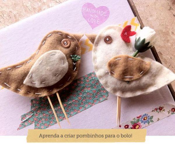 Você também pode ganhar um bom dinheiro comercializando este topo de bolo pombinhos de feltro (Foto: blog.elo7.com.br)