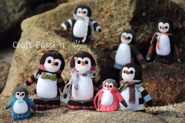 Estes fofos pinguins de meia podem ter o estilo que você desejar (Foto: craftpassion.com)