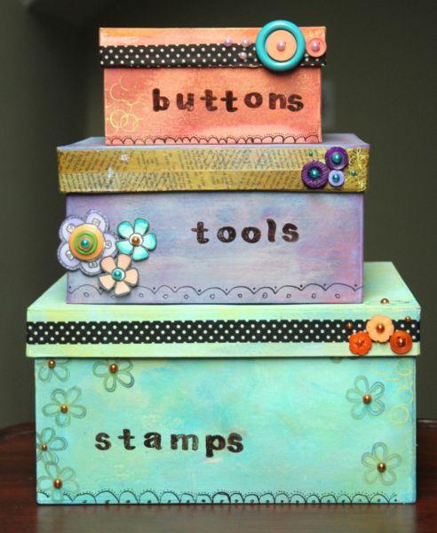 Faça esta pintura criativa para caixas decoradas com as cores que você quiser (Foto: craftsunleashed.com)