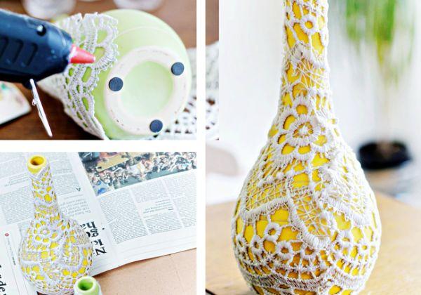Artesanato Garrafas De Vidro Recicladas ~ Artesanato Simples com Renda Passo a Passo Artesanato Passo a Passo!